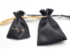 Print ribbon satin pouch