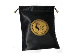 Logo label satin pouch
